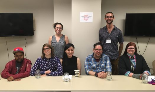 Photo of Panel 1: Left to Right: Donney Rose, Lydia Conklin, Emily Nemens, R.O. Kwon, Brandon Hobson, Garrett Hazelwood, & M. Mack.