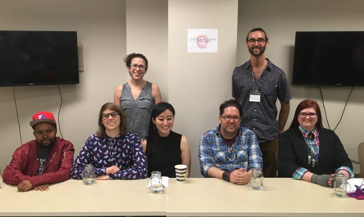 Photo of Panel 1: Left to Right: Donney Rose, Lydia Conklin, Emily Nemens, R.O. Kwon, Brandon Hobson, Garrett Hazelwood, & M. Mack.